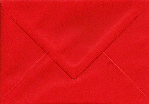 50 Briefumschläge DIN C6 rot 80g/m² mit spitzer Klappe nassklebend ohne Fenster (BU1)