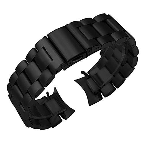 JACHJIN Correa de Reloj, Banda de Reloj de Acero Inoxidable para Samsung Galaxy Watch 46mm Sports Band Curved Fin Strap Pulsera de Pulsera de Plata Negro (Color : Black, Size : 22mm)