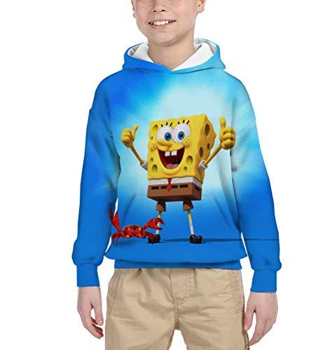 Spongebob Squarepants Pullover Klassisches T-Shirt Pullover Classic All-Match Jacke Stoff Soft-Langarm-Kapuzenshirt All-Match Lässige Pullover Junge und Mädchen (Color : A10, Size : 140)