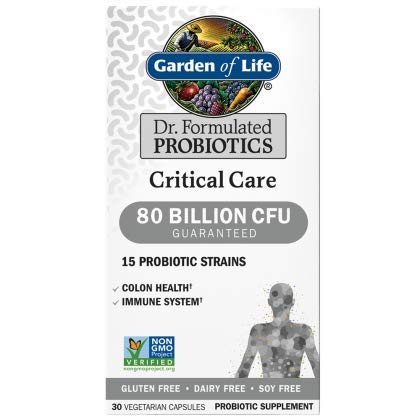 Garden of Life Dr. Formulated Probiotics Critical Care 80 Billion 30 Capsules CFU 15 Strains Colon Health and Immune System