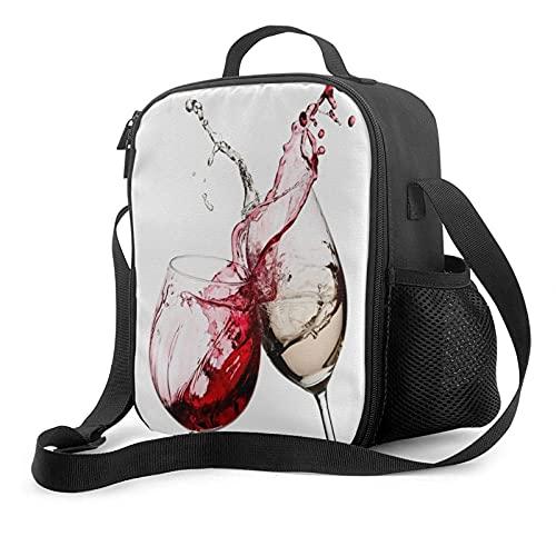 Mujeres Hombres Adultos Bolsa de almuerzo Vino tinto y blanco Splash Fiambrera personalizada Lonchera con aislamiento Bolsa de asas portátil Refrigerador térmico Bolsas de almuerzo reutilizables para