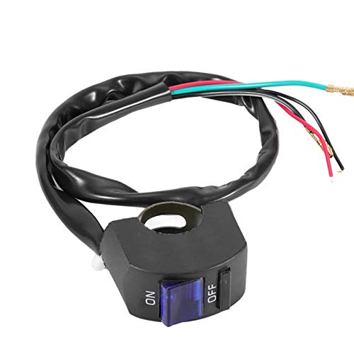 Mango Botón de luz Conector de botón Interruptores de botón prácticos para bicicleta ATV(Black blue)