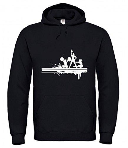 Druckerlebnis24 Kapuzenpullover Silhouette- Sport- BAR- Fitness- Body Building- Gesundheit- SPORTGERÄTE- Eisen- Strong- AUSRÜSTUNG- Gewichtheben für Herren- Damen- Kinder Sweatshirt Hoodie