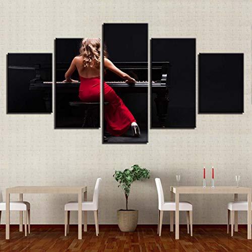 GIAOGE schilderij canvas schilderij Hd bedrukt modulaire afbeeldingen woonkamer 5 panelen meisje muziek piano muurkunst poster decoratie moderne lijst No Frame 30 x 40 30 x 60 30 x 80 cm.