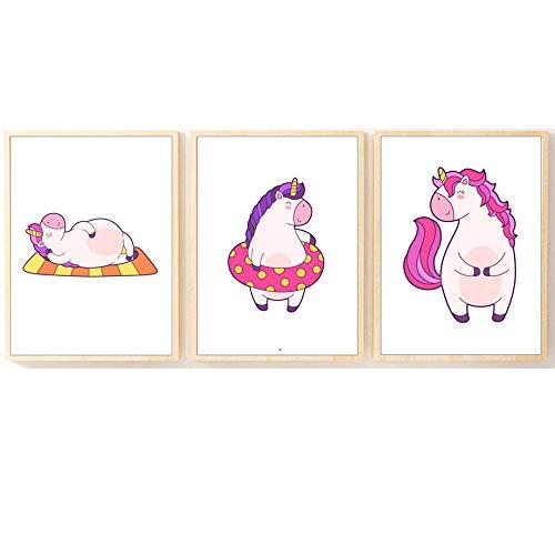 HNZKly Art Cartoon Pferd Schwimmring Wand Bilder Süße Pferd Poster Kunstdrucke Kinderzimmer Wandbilder Baby Mädchen Kinderzimmer Schlafzimmer Kinderzimmer Wohnkultur 30x40cmx3 / Ungerahmt