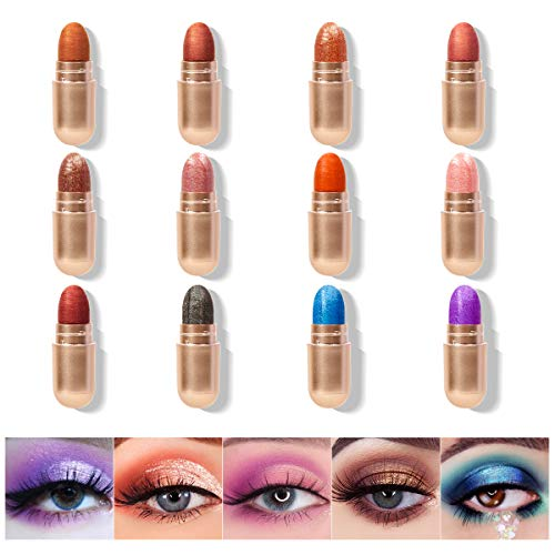 KISSIO Eyeshadow Stick,Eyeshadow Stick Set 12 Colors,Cream to Powder Waterproof Eyeshadow Stick,Eyeshadow Crayon,Glitter Eyeshadow Sticks,Pigmentation Shimmer Eyeshadow pencil Stick