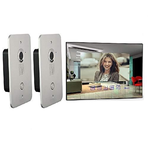 2 Draht Video Türsprechanlage 2x Außenstationen, 7 Zoll Monitor Klingel Spiegel