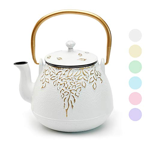 Tea Kettle TOPTIER Japanese Cast Iron Tea Kettle with Infuser Cast Iron Teapot Stovetop Safe Leaf Design Tea Kettle Coated with Enameled Interior for 32 Ounce 950 ml White