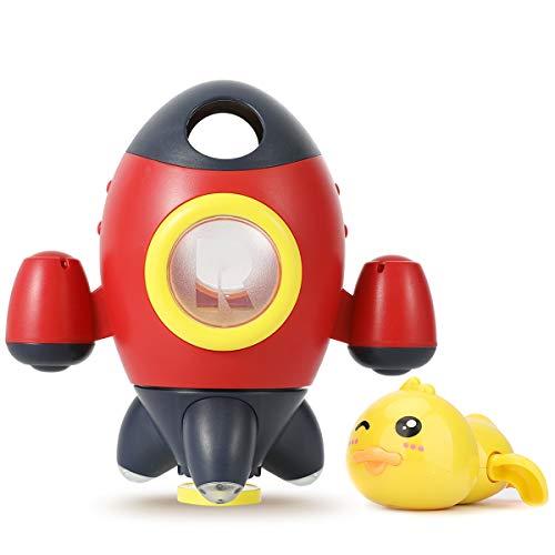 Kinder Badewannenspielzeug Set, Raketenfontäne & Entenspielzeug Baby Wasserspielzeug für Badewanne, Badespielzeug Wasserspielzeug Pool oder Schwimmbad Spielzeug Kinderspielzeug ab 12 Monaten (Rot)