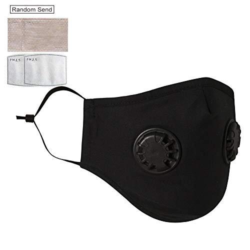 Activated Carbon Riding Mask met dubbele klep herbruikbare anti-stoffilter masker zonnebrandcrème gezicht Cover voor hardlopen, fietsen, outdoor activiteiten Zwart + Filter Papier*2