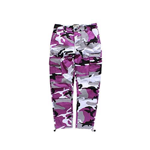 Mxssi Farbe Camo BDU Camouflage Cargo Pants Männer Frauen Casual Streetwear Taschen Jogger Orange Tactical Sweatpants Hip Hop Hosen Lila L