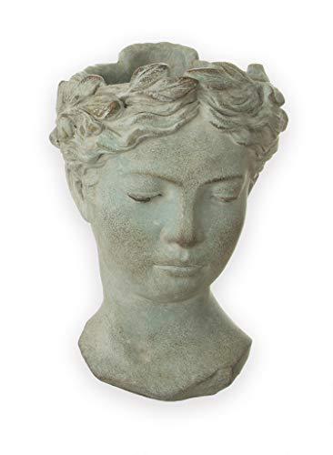 Busto externo de aspecto antiguo de aprox. Macetero de 27 x 18 cm, color gris mate, para plantas y flores, decoración antigua, cerámica robusta, decoración vintage