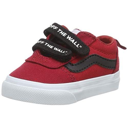 Vans Ward V-Velcro Canvas, Sneaker Unisex-Bambini, Red Otw Peperoncino Bianco Wm7, 18 EU