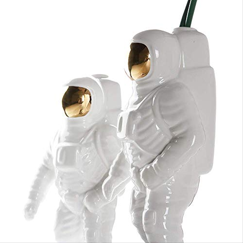 Deportes al aire libre Escultura de hombre espacial dorado Astronauta Jarrón de moda Creativo moderno Ornamento de cosmonauta de cerámica Modelo Estatua de jardín Decoraciones para el hogar(Paquet