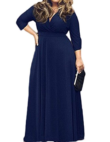 3/4 Sleeve Plus Size Maxi Dress for Women 1X Navy