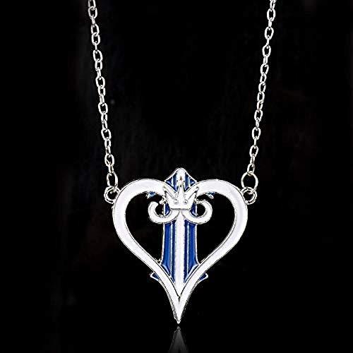 NC122 Kingdom Hearts Collana per Donna Peach Heart Crown Pendente Collane Charms Gioielli Collane per Ragazze Adolescenti