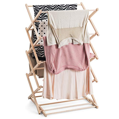 Bartnelli Hanging Laundry Clothes Drying Rack  Preassembled and Collapsible Drying Stand 100% Natural European Beech Wood
