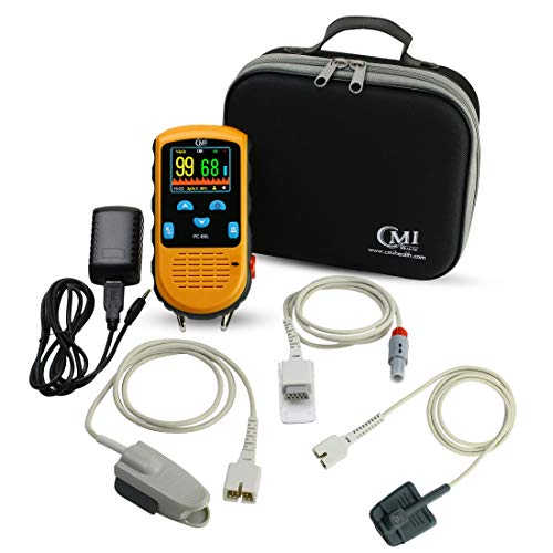 CMI Health Rechargeable Pulse Oximeter  Adult Finger Sensor for Continuous Monitoring amp SpotChecking  Adjustable Alarm for Pulse Rate and SpO2 Levels  Carry Case AC Adapter Included