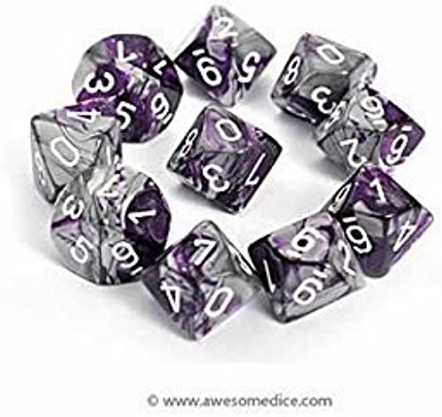 Chessex Dice Sets  Gemini lila & Steel with Weiß - Ten Sided Die d10 Set (10) by Chessex