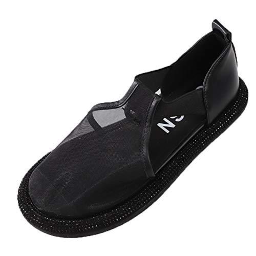 JXILY Sandalias Eugen Gasa Baotou Un Pedal Zapatos Ocasionales De Las Mujeres Individuales Zapatos Perezosos Zapatos Planos De Los Deslizadores,Negro,37