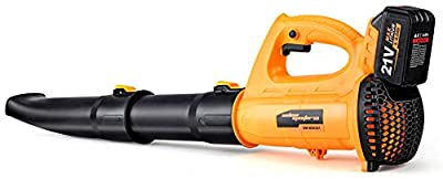 SALEM MASTER PRO Leaf Blower - 21V Cordless Leaf Blower with 4.0A Battery & Charger, Electric Leaf Blower Battery Powered for Patio,Lawn, Garden and Snow Blowing (Yellow)