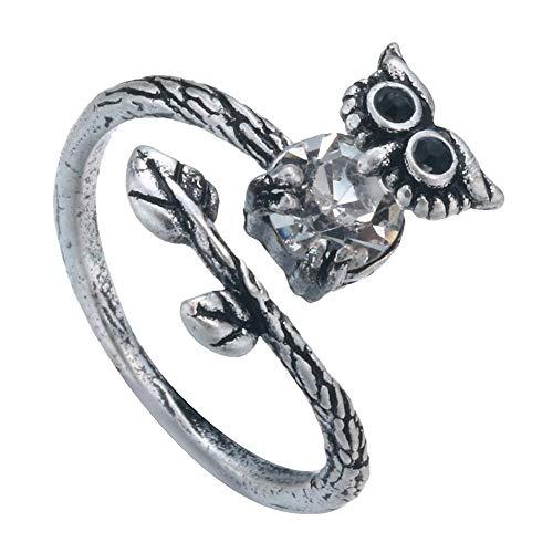 Wicemoon 1x Eulenring Vintage Ring Antiker silberner Frauenring Tierformring Einstellbarer Öffnungsring Geeignet für Frauen und Mädchen