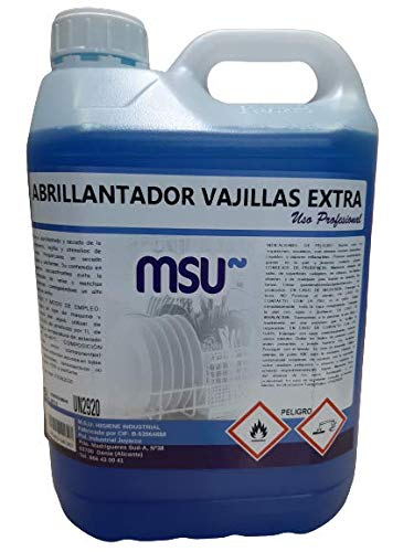 MSU - Abrillantador Vajillas Extra. Envase 5 Litros - Para el abrillantado y secado de la vajilla y utensilios de cocina en máquinas lavavajillas y túneles de lavado.