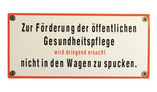 BBV Emaille Schild Zur Förderung der öffentlichen Gesundheitspflege Nicht in den Wagen Spucken 17x8 cm wetterfest und lichtecht Emailleschild