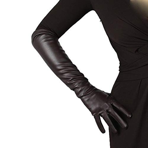 DooWay Women Long Gloves Faux Leather Over Elbow Length 20-inch Coffee PU Lining Costume Party Gloves