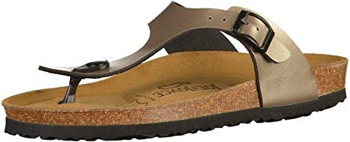 JOE N JOYCE RIO Unisex Thong Sandals, Flip Flops with a Comfort-Footbed for Men & Women, Size W8/M6 US, Metallic Sand, SynSoft, trendy Roman style, one strap, Boys, Girls