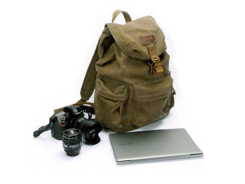 Courser Zaino in Tela Porta Fotocamera e Laptop con Copertura Anti-Pioggia