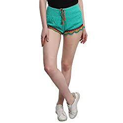 MansiCollections Green Smocking Shorts for Women