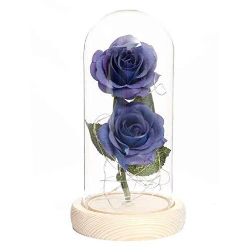 Andouy Rose Geschenk Kit, Eleganten Glaskuppel mit LED-Licht Pine Base, Wohnkultur für Geburtstag Valentinstag Muttertag Jahrestag(11x21.5cm.Blau-1)