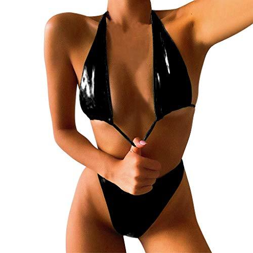 Damen Leder Bikini Set Lackleder Neckholder Triangel Hohe Taille High Cut Einfarbig Frauen Zweiteiliger Bademode mit Bikinihose Strandmode M Schwarz 180967 (Bademode Strandmode Strandbikini Two Piec)