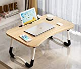 LEKA NEIL Foldable Laptop Lap Desk, Portable Computer Bed Table Tray with Phone Stand and Cup Holder for Bed/Couch/Sofa Working, Reading(Yellow)