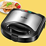 Kealive Sandwich Maker, Ultracompact Sandwich Toaster for Triangular Sandwich Toasts, Non-Stick Coated Plates, Easy Cleaning, No Burning, No Leaking, Stainless Steel Sandwich Grill (Black)