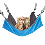 RivenAn Hanging Cat Hammock, Pet Hammock for Cage, Adjustable Cat Bed Two Sides Comfortable/Waterproof Resting Sleepy Pad for Cats Small Dogs Rabbits or Other Small Animals (Blue)