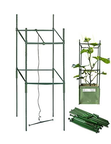 BLOOMBAGZ! 園芸 パイプ ガーデニング 支柱 四角形 誘引装置付け 鋼管製 イボ竹 つる植物 サポーター 棚 直径11mm 長さ100㎝ グリーン