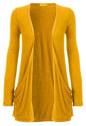 Funky Boutique Damen Cardigan mit Tasche : Farbe - Senf: Größe - 12-14 ML