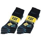 Caterpillar Power & Cool 6 Paires de chaussettes CAT de sécurité au travail pour hommes, Coolmax, double renfort sur la pointe et le talon, Coton d'excellente qualité et fibre de lycra (Noir, 43-46)