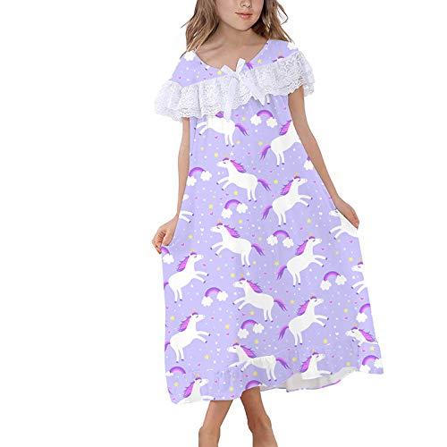 Alvivi Einhon Nachthemd Mädchen Kurzarm Schlafanzug Kinder T-Shirt Kleid Prinzessin Pferde Pyjama Nachtwäsche Schlafkleid Hell Lila 128-140