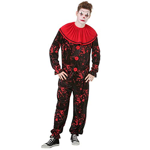 Boo Inc. Crimson Clown Mens Halloween Costume | Black/Red Scary Jester Outfit, XL