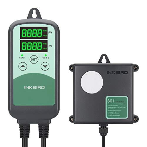 Inkbird ICC-500T Controlador Digital de CO2, Monitor Programable para Sistemas de Ventilación, Dispositivos de Control de Edificios y HVACE, Sensor de CO2 NDIR Sensible (ICC-500T+S01)