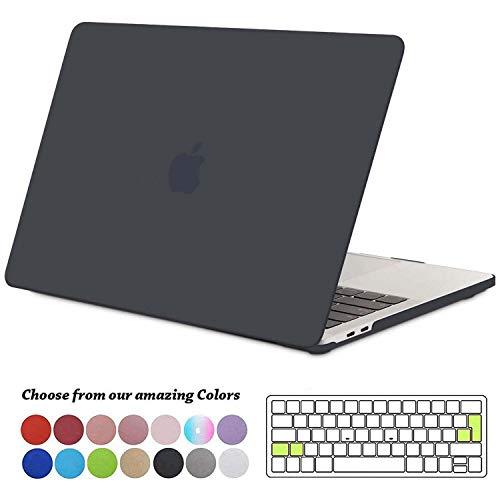 TECOOL MacBook Pro 13 Hülle Case 2019/2018/ 2017/2016, Plastik Hartschale Tasche + EU Tastaturabdeckung für MacBook Pro 13 Zoll mit/ohne Touch Bar (Modell: A2159/ A1989/ A1706/ A1708), Licht Schwarz