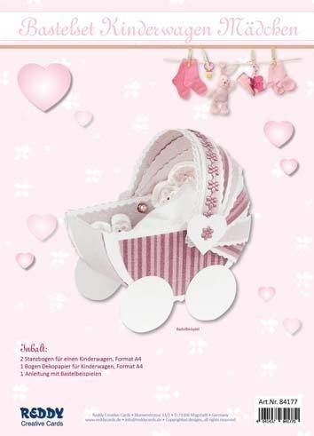 Reddy Creativ Cards 3-D Bastelmappe Kinderwagen (rosa)