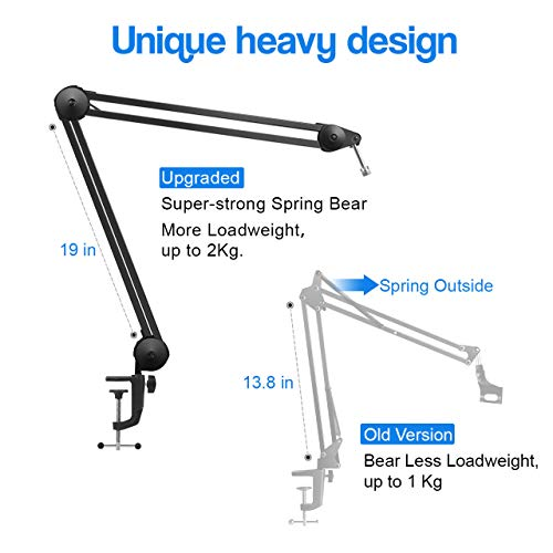 InnoGear Microphone Arm Stand, Heavy Duty Mic Arm Microphone Stand Suspension Scissor Boom Stands with Mic Clip and Cable Ties for Blue Yeti Snowball and Blue Yeti Nano(Large)