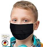 KINDER/JUGENDLICHE Facies EINFARBIG SCHWARZ für die Schule ab 4 Jahre wiederverwendbare Stoff Facies aus hochwertiger Baumwolle waschbar Mund und Nasenbedeckung