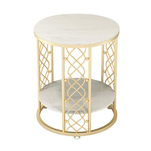 ZRN Coffee Round Table, Marble Nightstand,Sofa Side Snack Table, Scandi Style Lamp Table for Living Room Bedroom