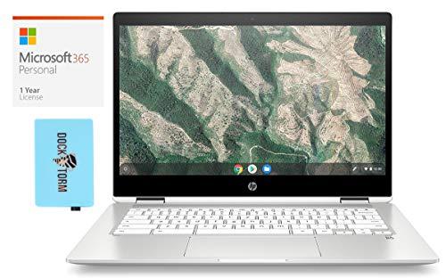HP Chromebook x360 14b-ca Home and Business Laptop (Intel Celeron N4000 2-Core, 4GB RAM, 32GB eMMC, Intel UHD 600, 14.0' Touch HD (1366x768), WiFi, Chrome OS) with Microsoft 365 Personal, Hub