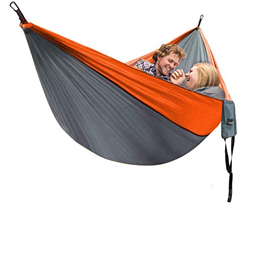 Unigear Camping Hammock 320 x 200cm for 2 Person, Portable Lightweight Parachute Nylon Double Hammock with Straps for Backpacking, Camping, Travel, Beach, Garden (Gray/Orange)
